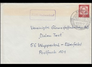 Landpost-Stempel Muckenschopf Brief SSt BÜHL (BADEN) Obstparadies 2.5.1963