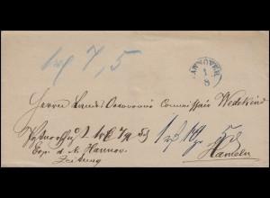 Hannover Vorphilatelie Briefhülle Einkreisstempel HANNOVER 1.8 nach Hameln