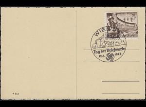 AK Wien - Praterstern, EF 739 Messe Leipzig, SSt WIEN Tag der Briefmarke 12.1.41
