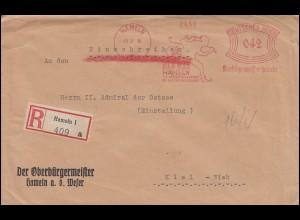 AFS Oberbürgermeister Hameln 15.8.34 Die Rattenfängerstadt, R-Brief nach Kiel