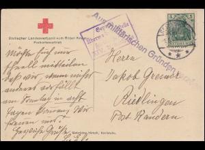 Feldpost Zensur Aus militärischen Gründen verzögert, Rote-Kreuz-AK 1.9.15