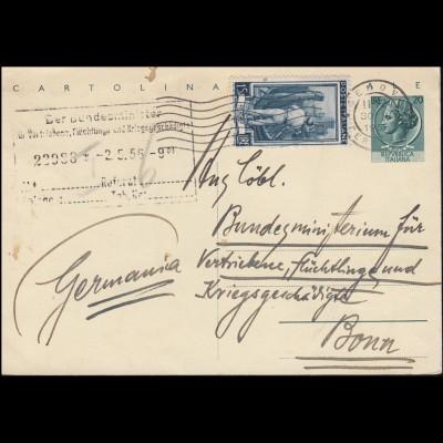Postkarte Genua 30.4.56 an das Bundesminsterium für Vertriebene .. in Bonn