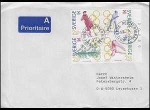Schweden: Olympiade - Gewinner 1991, Zusammendruck aus MH, FDC Göteborg 13.5.91