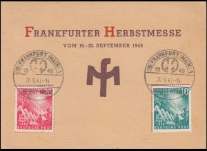 111-112 Bundestag-Satz Messekarte Frankfurter Herbstmesse passender SSt 20.9.49
