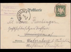 Bayern Posthilfstelle Freibergsee Taxe OBERSTDORF 6.9.00 nach NEUFELDEN 8.9.00