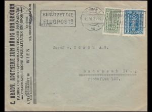 386+395 Freimarken-MiF auf schwerem Brief ab WIEN 25.6.1924 nach Budapest
