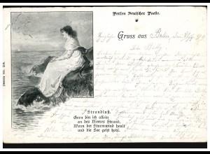 AK Perlen Deutscher Poesie - Gruss aus ... Strandlust, BERLIN 22.1.1899