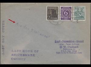 Währungsreform Last Day Cover Aus dem Briefkasten MiF AMERN / DÜSSELDORF 21.6.48
