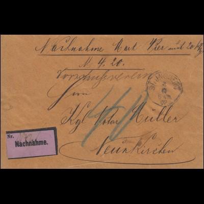 Nachnahme-Nachgebühr als Briefstück ST. INGBERT 4.11.1897 nach Neunkirchen