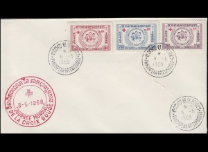 Kambodscha 95-97 Children Peace Rotes Kreuz 1959, 3 Werte auf Schmuck-Brief 1968