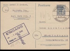 P 962 Arbeiter SSt MEERANE Modische Kleiderstoffe 31.7.1948 nach Mönchengladbach