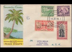 71-74 Neuseeland mit Aufdruck NIUE auf Schmuck-Brief Peace Stamps NIUE 4.6.1946