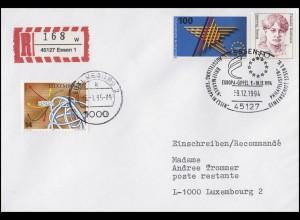 1644 Europäischer Binnenmarkt, MiF R-Brief SSt Essen Europa-Gipfel 9.12.1994