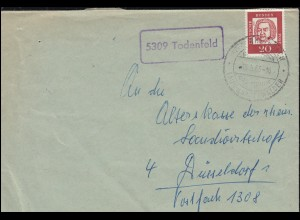 Landpost-Stempel Todenfeld Brief SSt RHEINBACH Glas und Keramik nach Düsseldorf