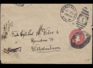 USA Ganzsache Umschlag 2 Cents rot von MILWAUKEE 25.1. nach Wilhelmshaven
