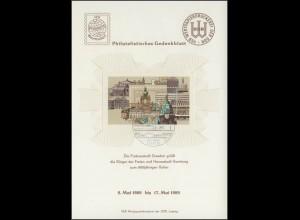 Gedenkblatt Partnerschaft Dresden-Hamburg mit Bl.55, Dresden/Weiße Flotte 1989