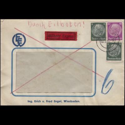 Hindenburg-MiF 6 + 40 Pf Eil-Fensterbf. WIESBADEN 22.2.41 nach Berlin-Zehlendorf