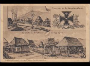 AK Erinnerung an die Karpathenkämpfe mit 3 Abbildungen als Feldpost 12.3.16