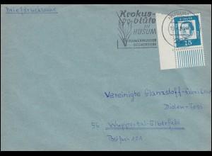 351y Luther Eckstück unten links als EF auf Briefdrucksache HUSUM 19.4.1963