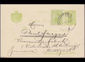 Rumänien Postkarte P 50 mit Zusatzfr. DUMITRESTI 16.10.1911 nach Stuttgart