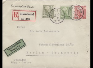 Zensur Valutakontroll König Gustav V. - MiF auf R-Brief HÄRNÖSUND 13.10.51