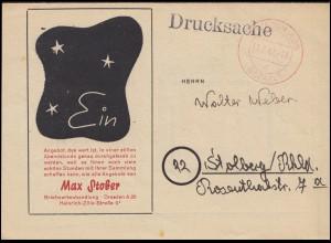 Gebühr-bezahlt-Stempel Dresden 11.7.47 Drucksache Briefmarken-Ankauf Max Stober