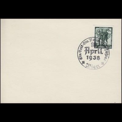 663 Volksabstimmung 6 Pf auf Blanko-Karte SSt. Wien Ein Volk - Ein Reich 10.4.38
