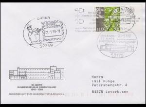 2054 Bund & Zusammenarbeit, EF FDC ESSt Bonn & ESSt Düren und BZ 53 - 21.5.1999
