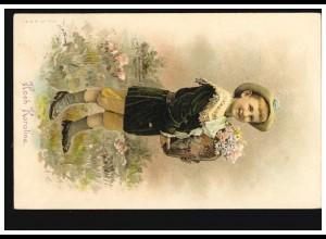 Ansichtskarte Vornamen: Hoch Karoline! Kind mit Blumenvase, WIEN 1908