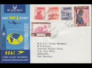 Erstflug der BOAC von LONDON nach AUCKLAND mit Zuleitung von Nahost 2.4.1963