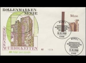 1348 SWK 300 Pf Hambacher Schloss: Ecke o.l., FDC Bonn