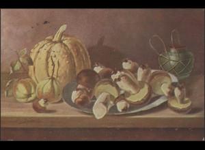 Feldpostkarte: Gemälde Pilze & Obst, Feldpost 76, 2.2.15 nach Delmenhorst