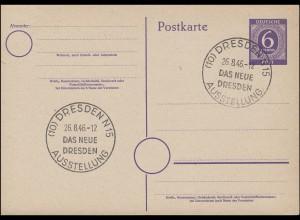 SSt DRESDEN Ausstellung Das Neue Dresden 26.8.1946 auf Blanko-Postkarte P 951