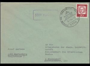 Landpost-Stempel Kurtenberg Brief SSt RHEINBACH Glas und Keramik nach Düsseldorf