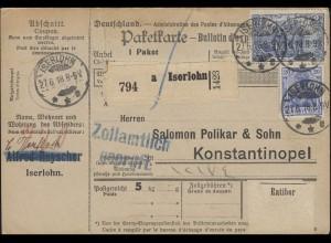 Freimarken 95BII und 87II auf Paketkarte ISERLOHN 27.6.18 nach Konstantinopel