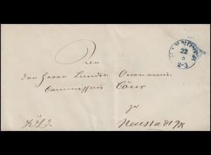 Hannover Dienstpost Briefhülle Einkreisstempel HANNOVER 22.8. nach Neustadt