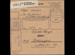 455 Schloss Tegel MeF 12mal Paketkarte DUISBURG-GROSSENBAUM 21.9.66 n. Balingen
