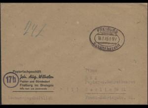 Gebühr-Bezahlt-Stempel Brief Freiburg/Breisgau 18.7.46 nach Berlin