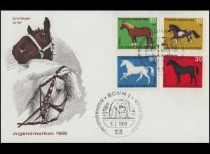 578-581 Jugendmarken Pferde 1969 - Satz auf Schmuck-FDC ESSt Bonn 6.2.69