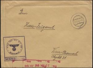 Dienstpost der Wehrmacht Stab Inf. Ers. Btl. 133 stummer Stempel 21.6.40 n. Wien