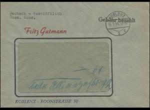 Gebühr-Bezahlt-Stempel Fensterbrief Koblenz 16.1.46