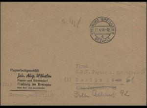 Gebühr-Bezahlt-Stempel Brief Freiburg/Breisgau 11.4.46 nach Berlin