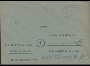 Gebühr-Bezahlt-Stempel Brief Bünde/Westfalen 12.11.45 nach Berlin