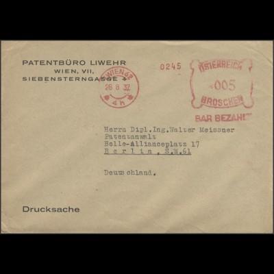 Österreich Barfreistempel Drucksache Patentbüro Wien 28.8.32 nach Berlin
