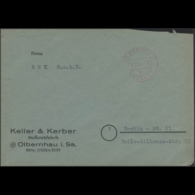 Gebühr-Bezahlt-Stempel Brief Olbernau 19.11.45 nach Berlin