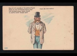 AK Karikatur Geld Hände in anderer Leute Taschen gegen das Licht, ungebraucht