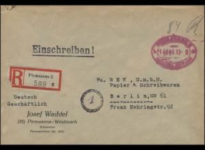 Gebühr-Bezahlt-Stempel R-Brief Pirmasens 14.6.46 nach Berlin