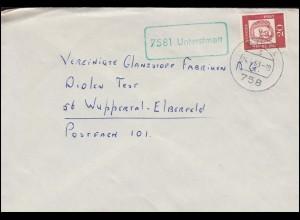 grüner Landpost-Stempel Unterstmatt Brief BÜHL 24.4.1963
