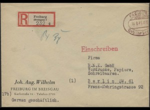 Gebühr-Bezahlt-Stempel R-Brief Freiburg/Breisgau 18.8.46 nach Berlin 23.8.46