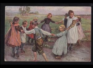Künstler-AK B. Genzmer: Kinderreigen Körbe-Körbe, gelaufen 1918